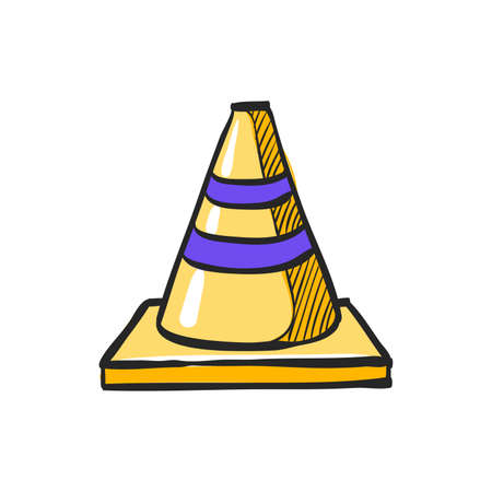 Road sign cone icon in color drawing. Danger forbidden plastic transportation