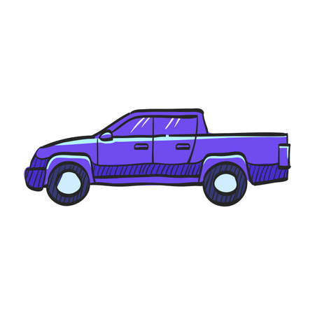 Car icon in color drawing. Truck, double cabin, 4x4, 4 wheel driver