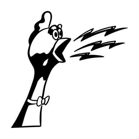 Shouting chicken vector illustration.