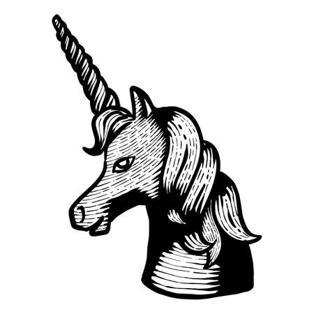 Hand drawn unicorn. Vector illustration animal.