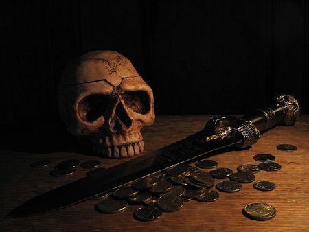 skull, blade, coins, pirate Zdjęcie Seryjne - 542413