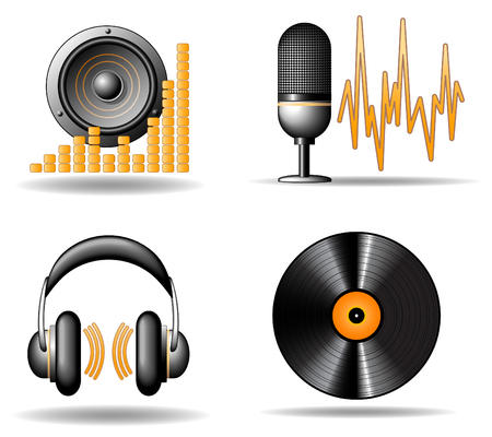 Audio vector icons Illustration