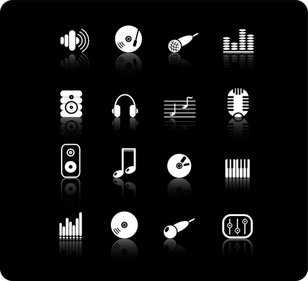 Music and audio raster icons. Vector version is available in my portfolio Zdjęcie Seryjne - 2905056