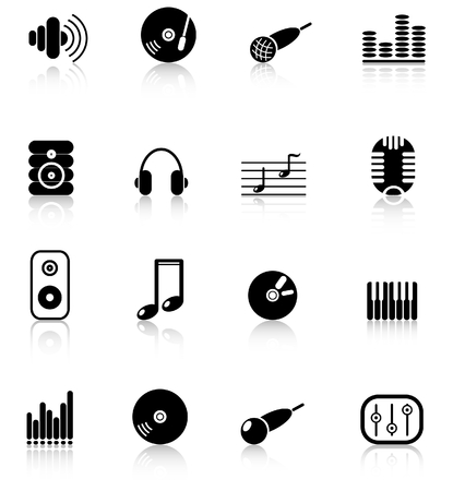 Music and audio raster icons. Vector version is available in my portfolio Zdjęcie Seryjne - 2905054