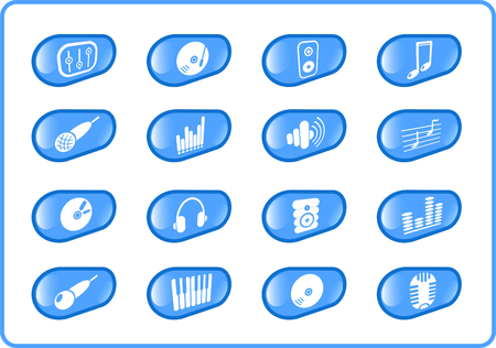 Music and audio raster icons. Vector version is available in my portfolio Stock Vector - 2905078