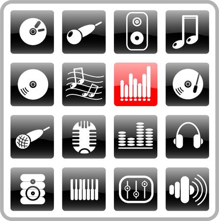 earbud: M�sica y audio trama iconos. Vector versi�n est� disponible en mi cartera  Vectores