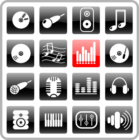 Music and audio raster icons. Vector version is available in my portfolio Zdjęcie Seryjne - 2905032