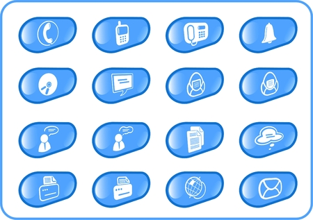 Miscellaneous office and communication raster icons. Vector version is available in my portfolio Vector