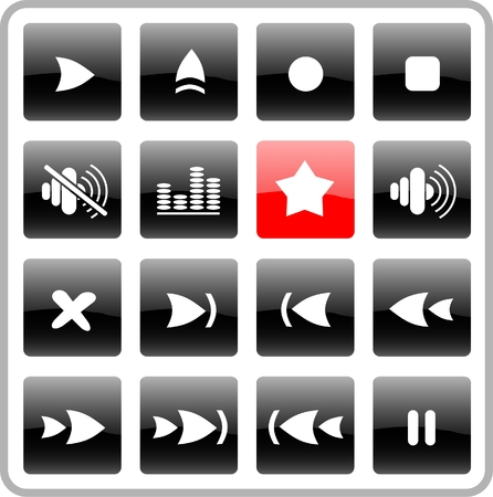 Media player raster iconset. Vector version is available in my portfolio Vector