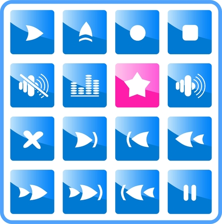 Media player raster iconset. Vector version is available in my portfolio Stock Vector - 2958785