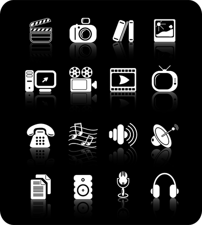 Miscellaneous multimedia raster icons. Vector version is available in my portfolio Stock Vector - 3024510
