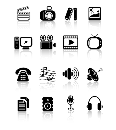 Miscellaneous multimedia raster icons. Vector version is available in my portfolio Stock Vector - 3024512