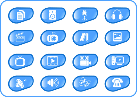 Miscellaneous multimedia raster icons. Vector version is available in my portfolio Stock Vector - 3024520
