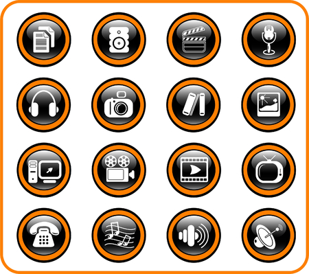 Miscellaneous multimedia raster icons. Vector version is available in my portfolio Stock Vector - 3024518