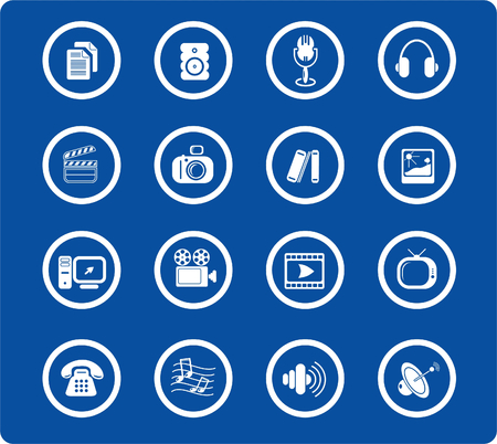 Miscellaneous multimedia raster icons. Vector version is available in my portfolio Stock Vector - 3024515