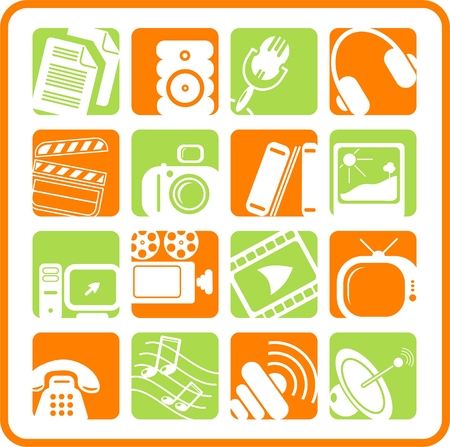 Miscellaneous multimedia raster icons. Vector version is available in my portfolio Stock Vector - 3024513