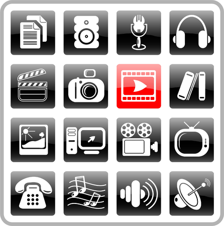 Miscellaneous multimedia raster icons. Vector version is available in my portfolio Stock Vector - 3024509
