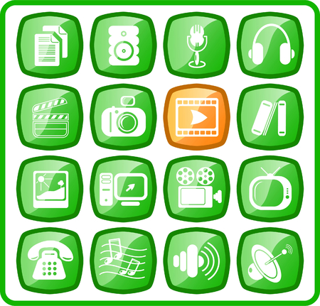 Miscellaneous multimedia raster icons. Vector version is available in my portfolio Vector