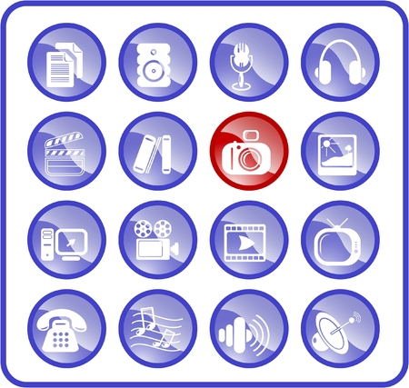 Miscellaneous multimedia raster icons. Vector version is available in my portfolio Stock Vector - 3024505