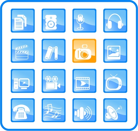 Miscellaneous multimedia raster icons. Vector version is available in my portfolio Stock Vector - 3024504