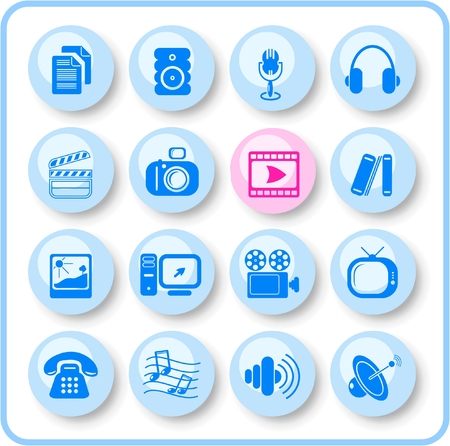 Miscellaneous multimedia raster icons. Vector version is available in my portfolio Stock Vector - 3024507