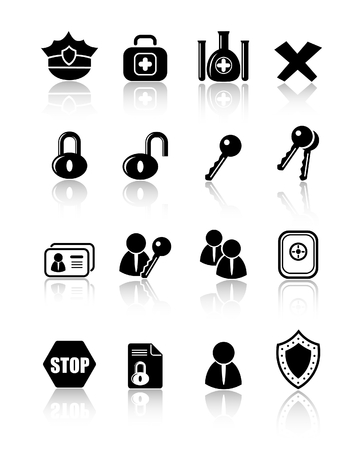 Security and antivirus raster icons. Vector version is available in my portfolio Zdjęcie Seryjne - 3059556