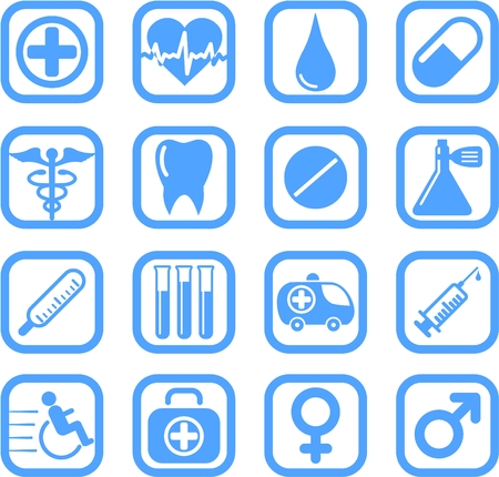 Medical and health care vector icons Illustration