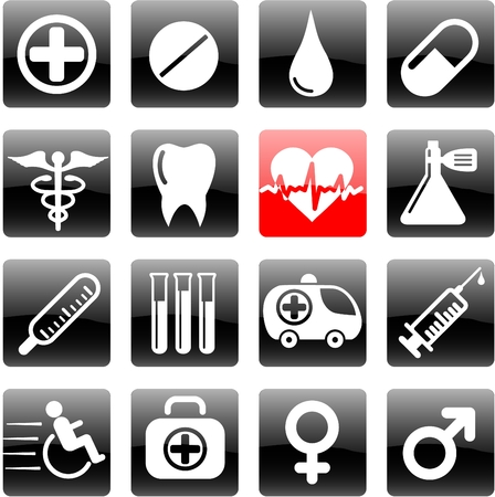Medical and health care vector icons Stock Vector - 5164854