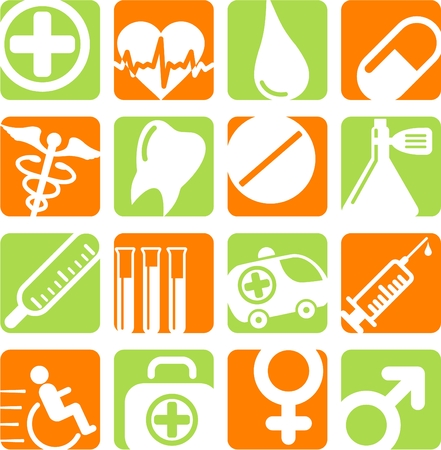 phial: Medical and health care vector icons Illustration