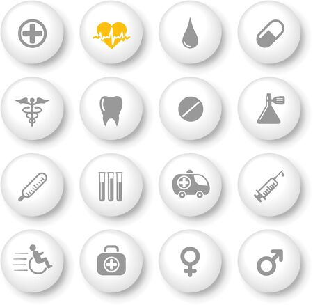 fiole: M�dicaux et les ic�nes vecteur de soins de sant� Illustration