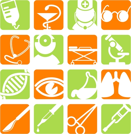 microscope: Medical and health care vector icons, part 2