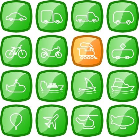 Los viajes y el transporte de vectores iconos
