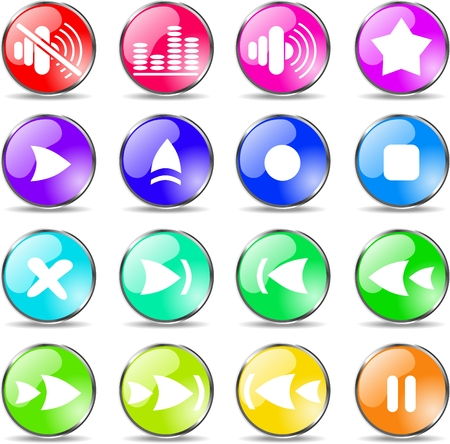 Media player vector iconset Vector