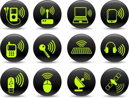 agenda electr�nica: Comunicaciones inal�mbricas de vectores iconset