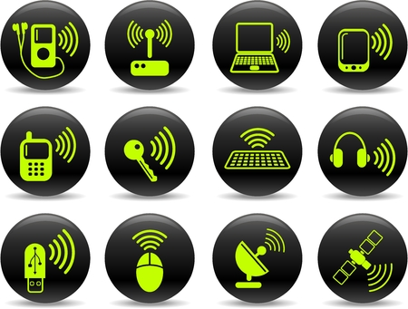 Wireless communications vector iconset Vector