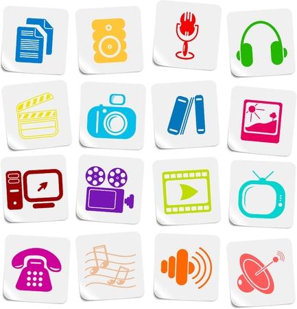 Varie icone vettoriali multimediali
