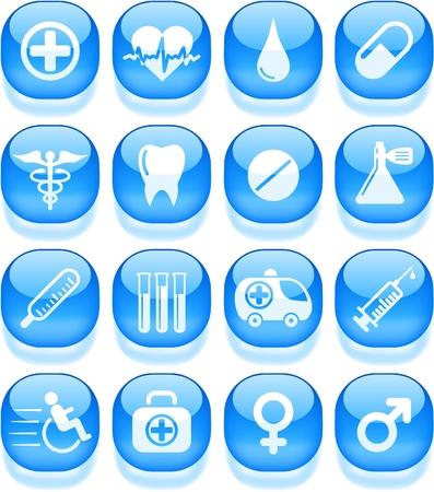 fiole: M�dicaux et les soins de sant� vecteur ic�nes Illustration