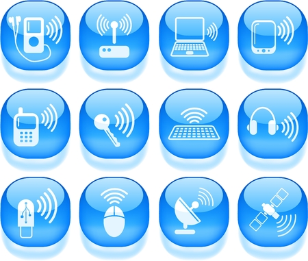 Wireless communications vector iconset Stock Vector - 5169830