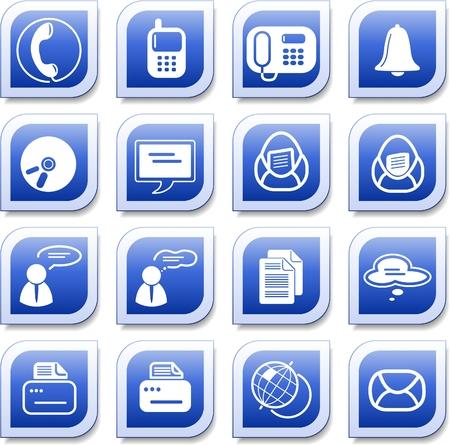 icono fax: Varios iconos de vector de oficina y de la comunicaci�n