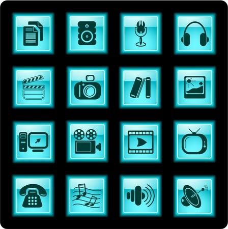 miscellaneous: Miscellaneous multimedia vector icons Illustration