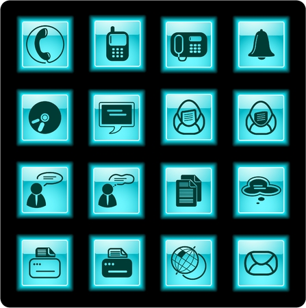 Miscellaneous office and communication icons Vector
