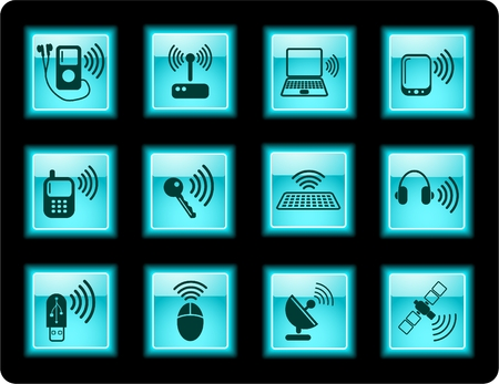 Wireless communications iconset Stock Vector - 5665637
