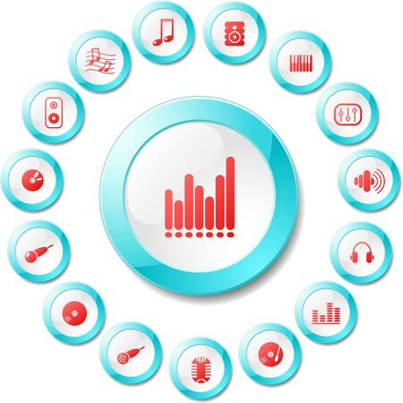 Music and audio vector icons Stock Vector - 5705628
