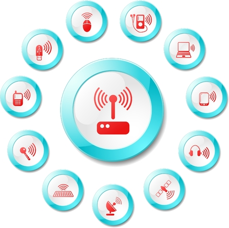 Wireless communications vector iconset Stock Vector - 5705625