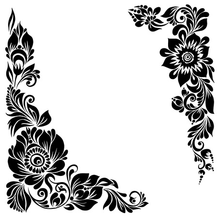 black borders: beautiful corner background black and white frame with floral patterns and swirls for design Illustration