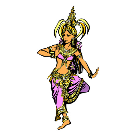 thai dance: Color illustration of a Thai dancer in oriental costume, the silhouette of a beautiful Indian woman in a dance, eastern princess in colorful costume with a crown