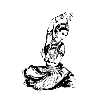 bharatanatyam: vector sketch of dancing girl in an Indian costume, dancer Indian dance