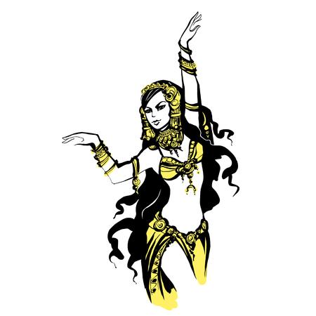 danza del vientre oriental, bailarín árabe ilustración vectorial,