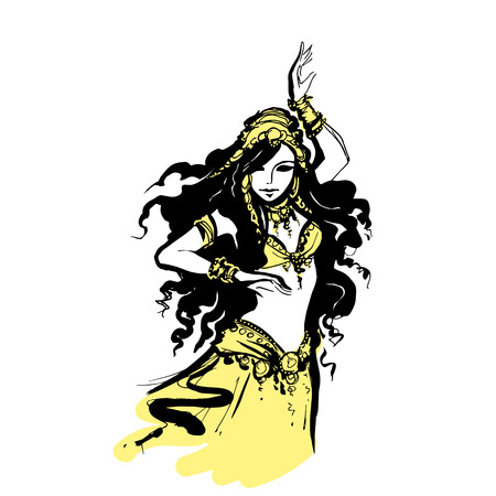 oriental belly dancing, vector illustration Arab dancer,