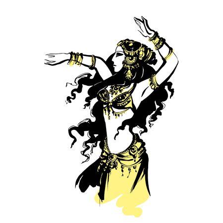 bellydance: oriental belly dancing, vector illustration Arab dancer, Illustration